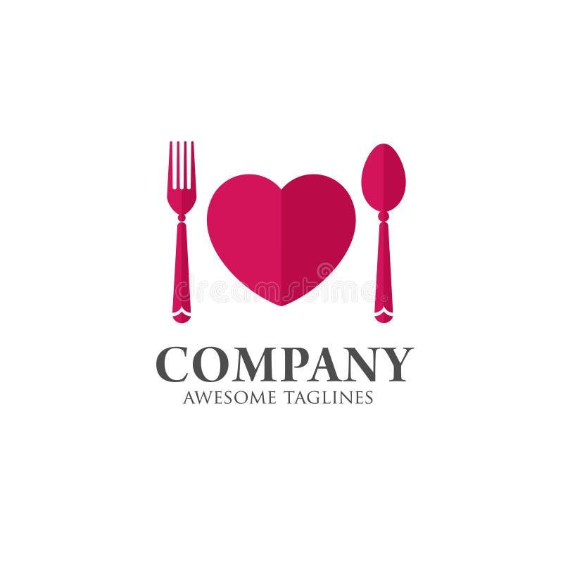 Molde do logotipo do alimento do amor ilustração do vetor