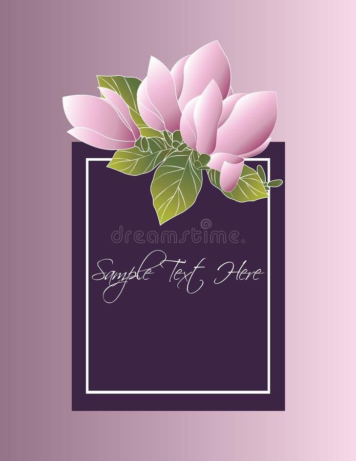 Molde do logotipo do boutique com as flores roxas da magnólia ilustração royalty free