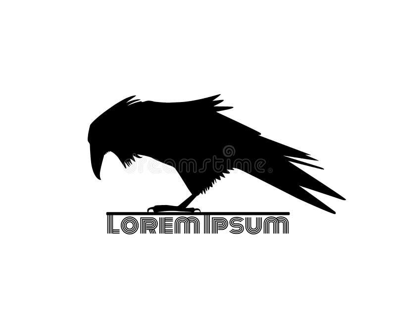 Molde do logotipo do corvo ilustração do vetor