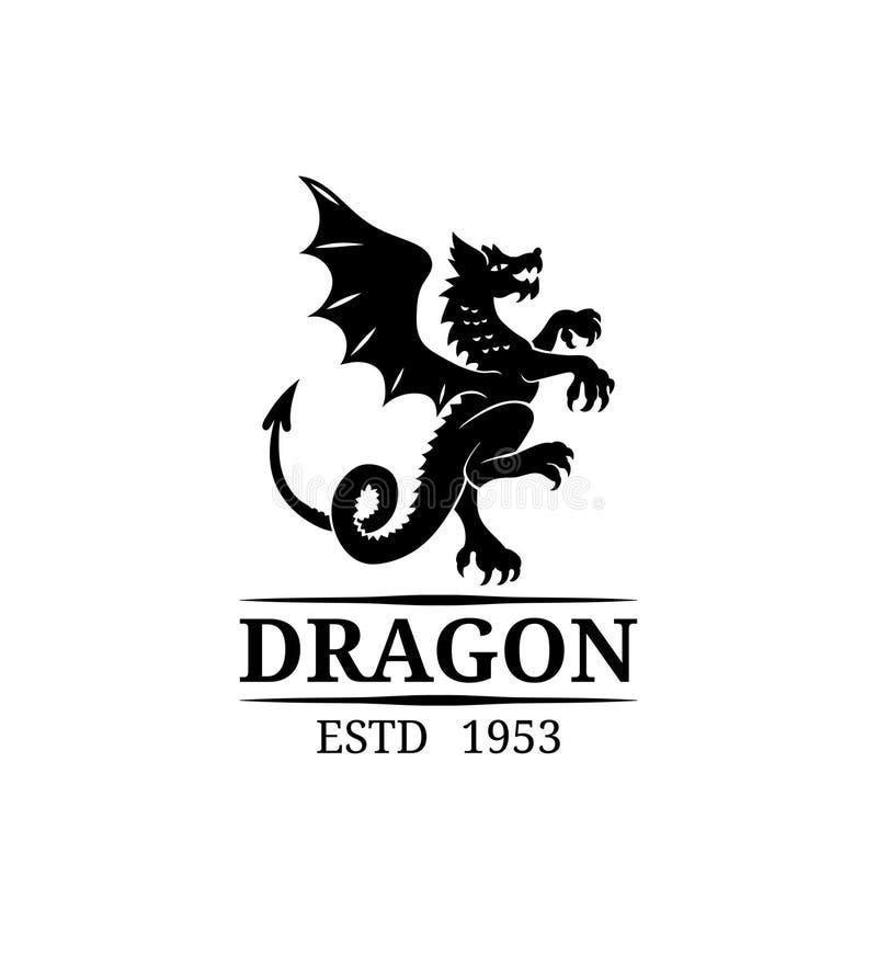 Molde do logotipo do dragão do vetor Monograma luxuoso Ilustração animal do símbolo do vintage gracioso para o boutique, o cartão ilustração royalty free
