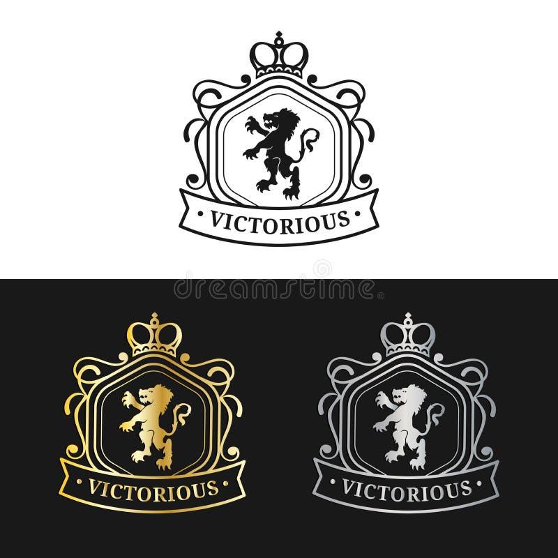 Molde do logotipo do monograma do vetor Projeto luxuoso da coroa Silhuetas graciosas do leão do vintage Usado para o hotel, o res ilustração royalty free