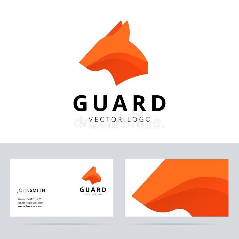 Molde do logotipo do protetor com sinal da cabeça de cão ilustração do vetor