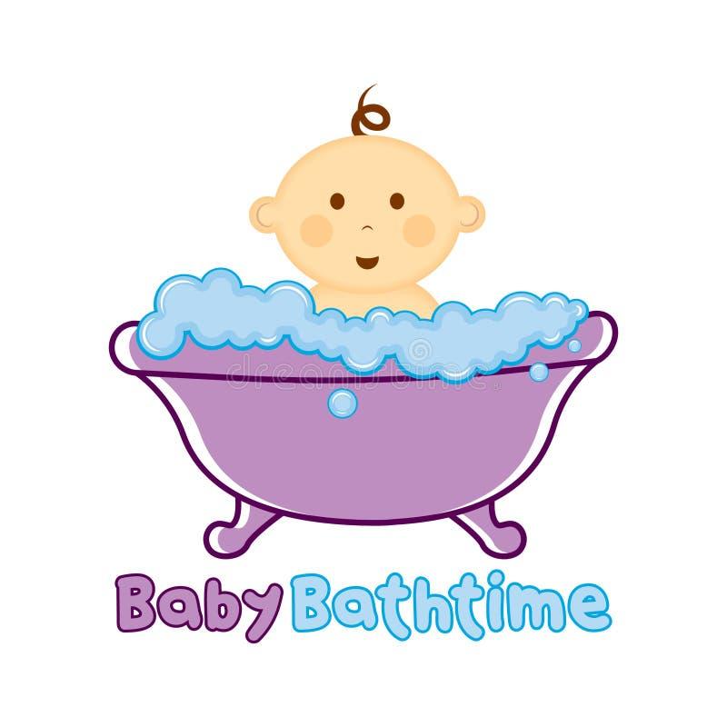 Molde do logotipo do tempo do banho do bebê, bebê que banha o logotipo, festa do bebê fotografia de stock