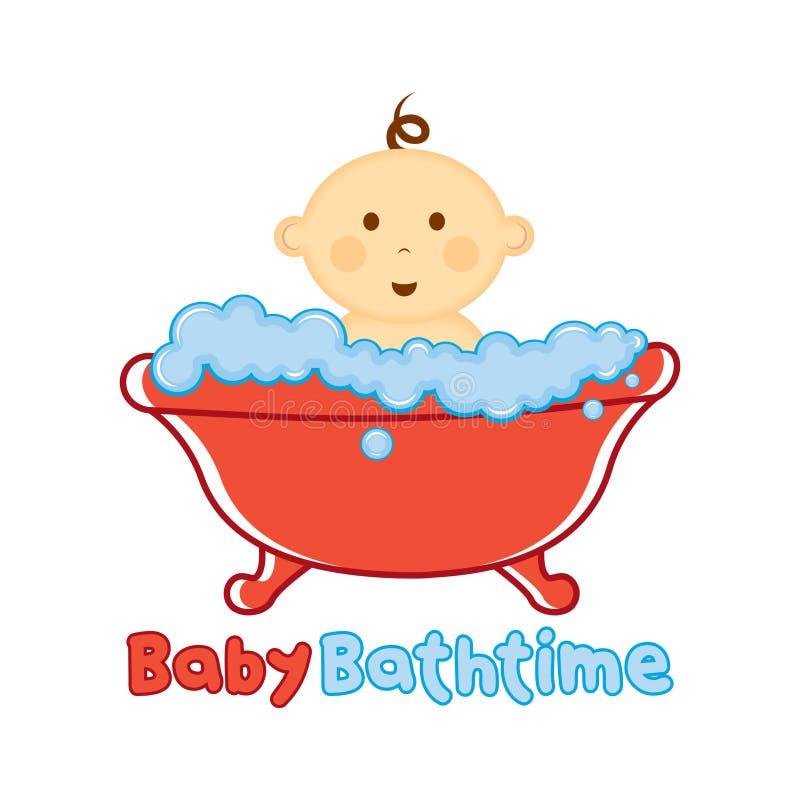 Molde do logotipo do tempo do banho do bebê, bebê que banha o logotipo, festa do bebê imagens de stock