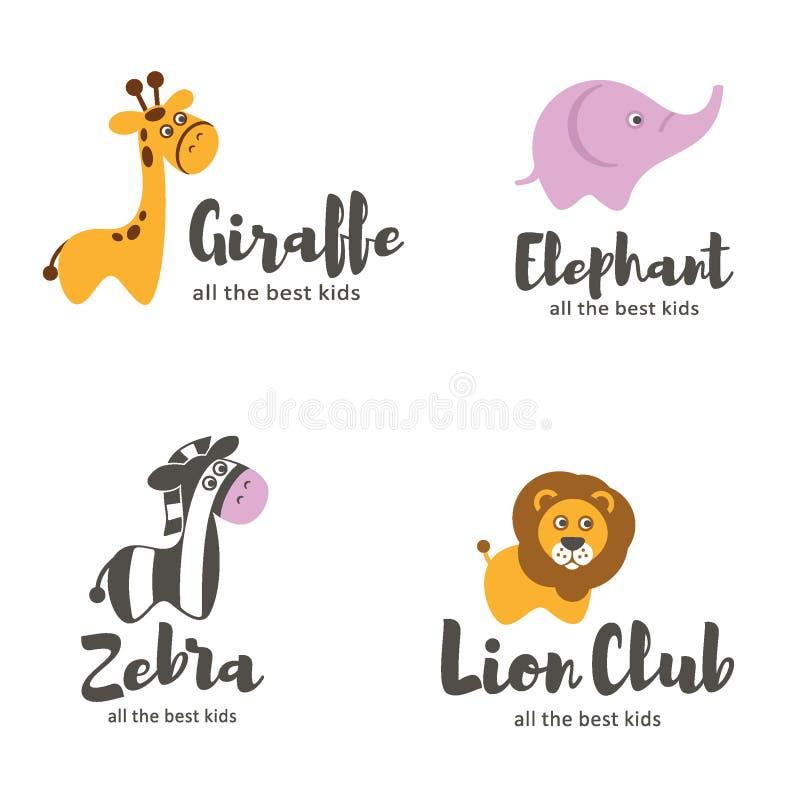 Molde do logotipo do vetor Animais do bebê ilustração royalty free