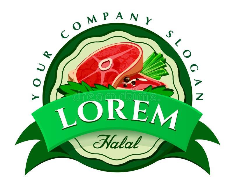 Molde do logotipo do vetor da carne e dos vegetais ilustração royalty free