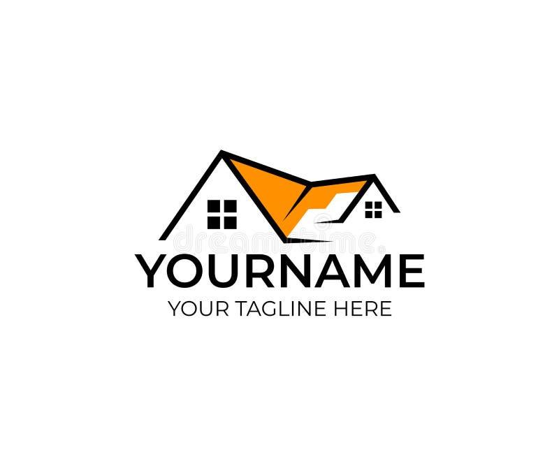 Molde do logotipo dos bens imobiliários da casa Casa com janela e telhado da construção ilustração royalty free