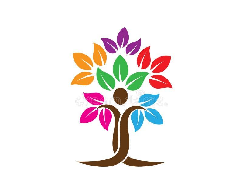 molde do logotipo dos povos da árvore ilustração stock