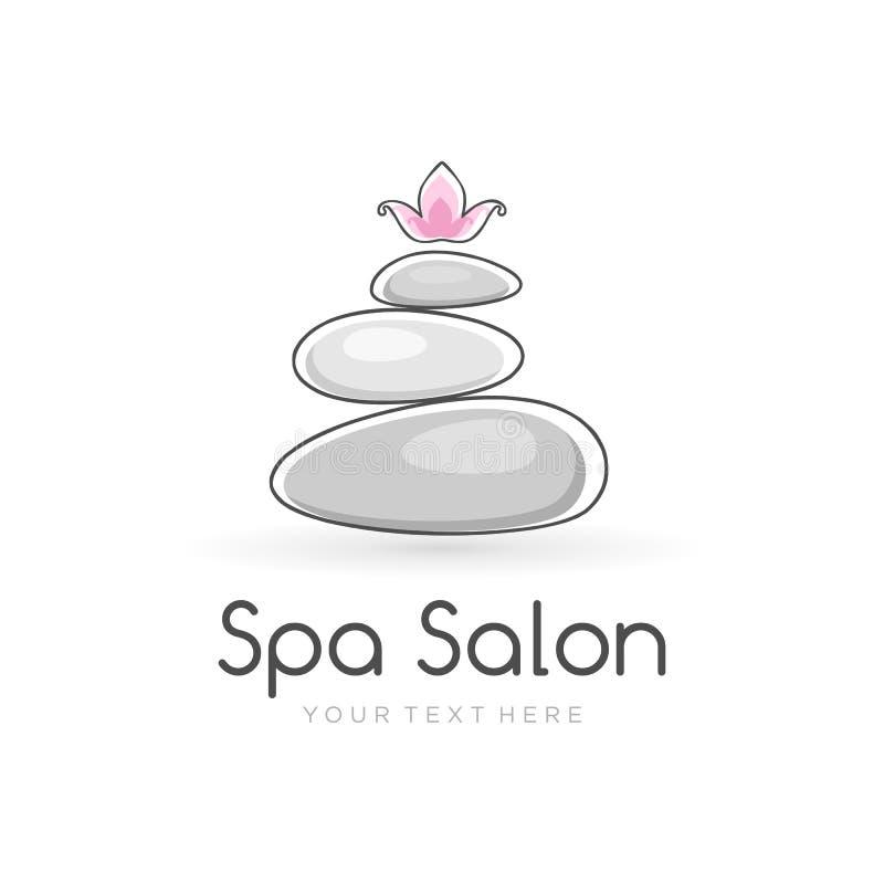 Molde do logotipo dos termas da harmonia para o salão de beleza dos termas com as pedras de equilíbrio e flor de lótus na parte s ilustração do vetor