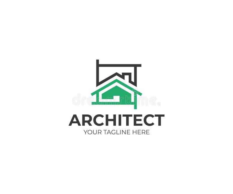 Molde do logotipo do esboço da arquitetura Projeto do vetor do projeto da casa ilustração stock