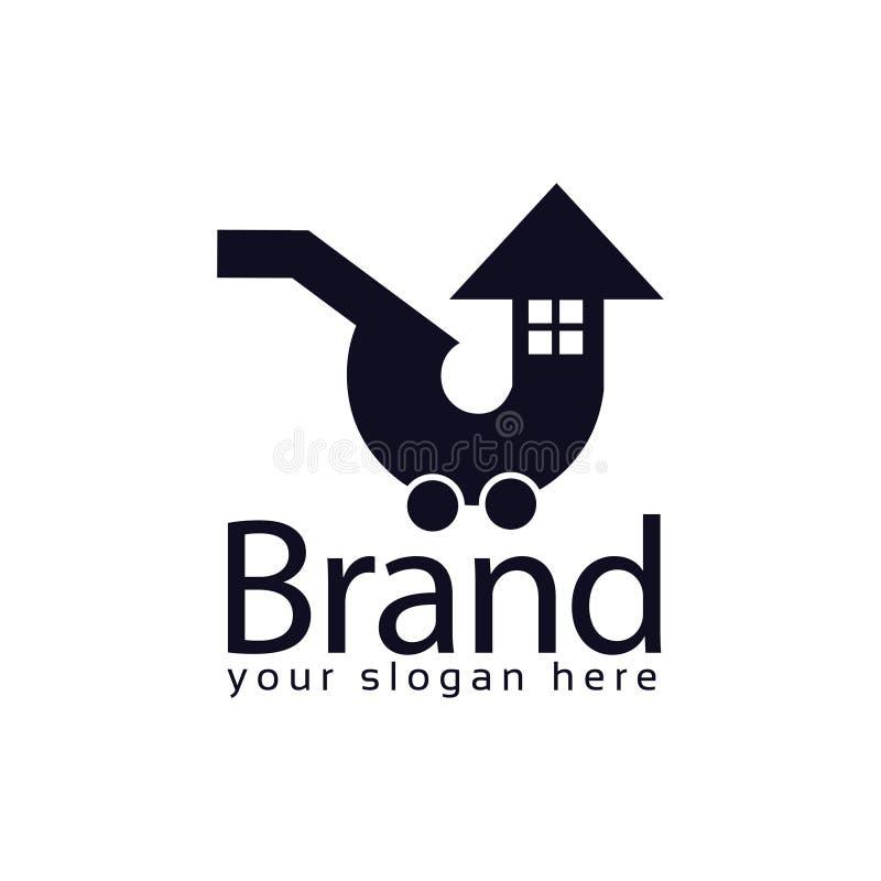 Molde do logotipo do estoque do mercado da casa logotipo liso editable Vetor ilustração stock