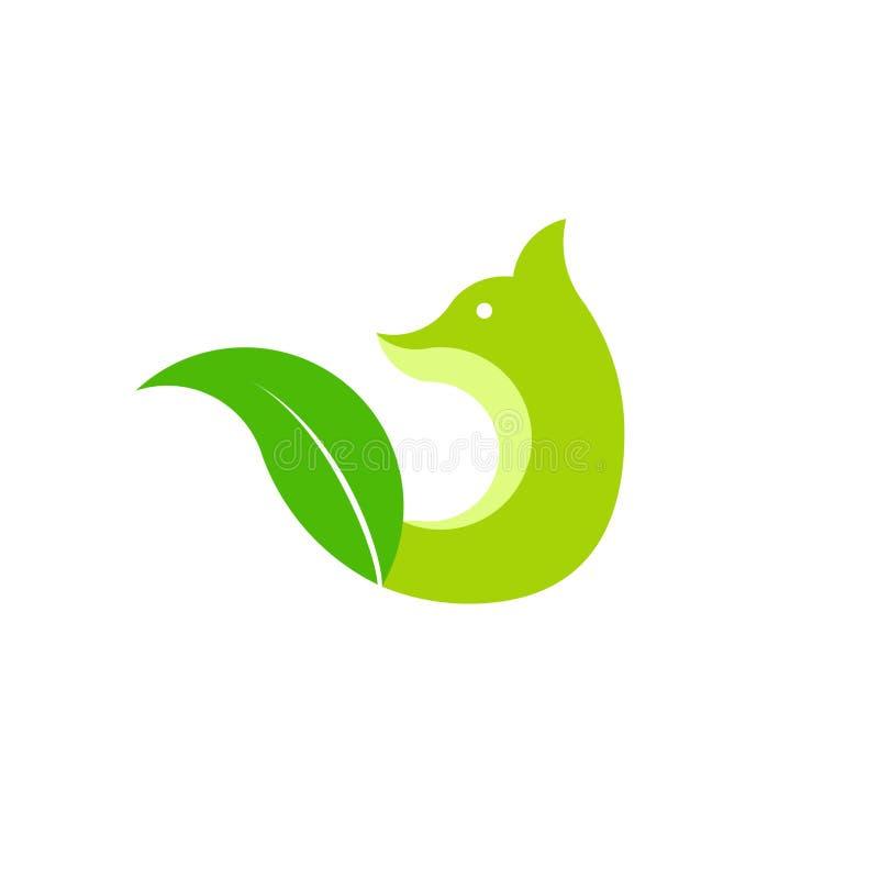 Molde do logotipo do Fox e da folha ilustração stock