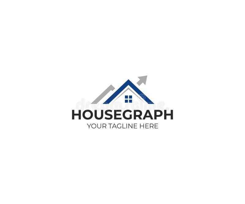 Molde do logotipo do gráfico da casa e da seta Projeto do vetor da carta do mercado imobiliário ilustração royalty free