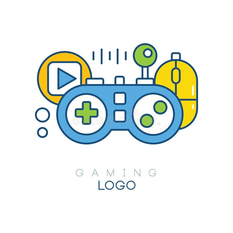 Molde do logotipo do jogo Gamepad, botão do jogo, manche e rato do computador Emblema linear com a suficiência azul, amarela e ve ilustração stock