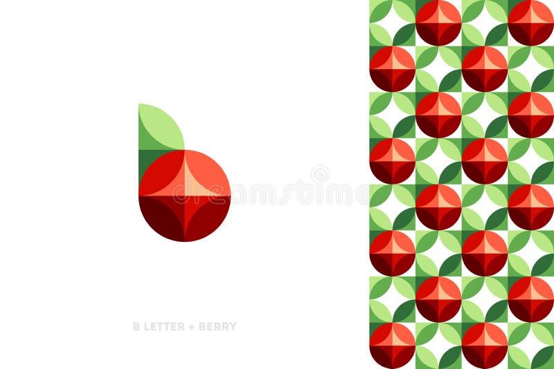 Molde do logotipo ou ícone da baga vermelha com folha e teste padrão ilustração do vetor
