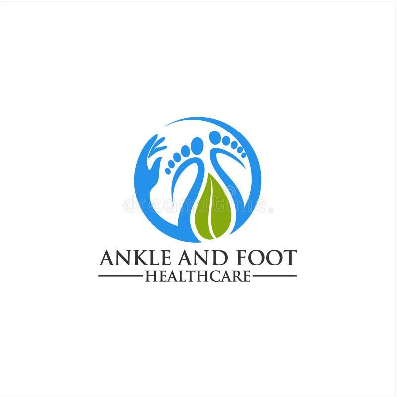 Molde do logotipo do pé e do ícone do cuidado, cuidados médicos do pé e do tornozelo imagem de stock royalty free
