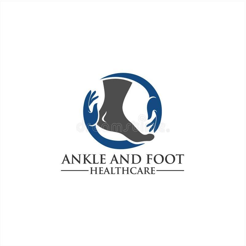 Molde do logotipo do pé e do ícone do cuidado, cuidados médicos do pé e do tornozelo fotos de stock royalty free