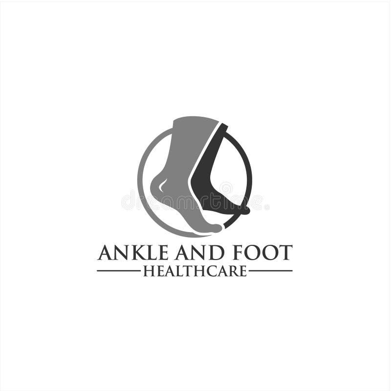 Molde do logotipo do pé e do ícone do cuidado, cuidados médicos do pé e do tornozelo fotografia de stock royalty free
