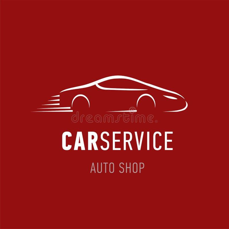 Molde do logotipo do serviço do carro Veículo da silhueta do projeto do emblema da loja do concessionário automóvel Símbolo na mo ilustração stock
