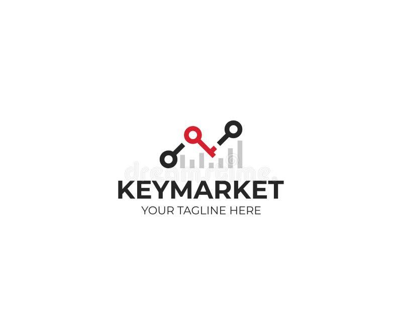 Molde do logotipo do stats e da chave da carta Projeto do vetor do sucesso do mercado ilustração stock