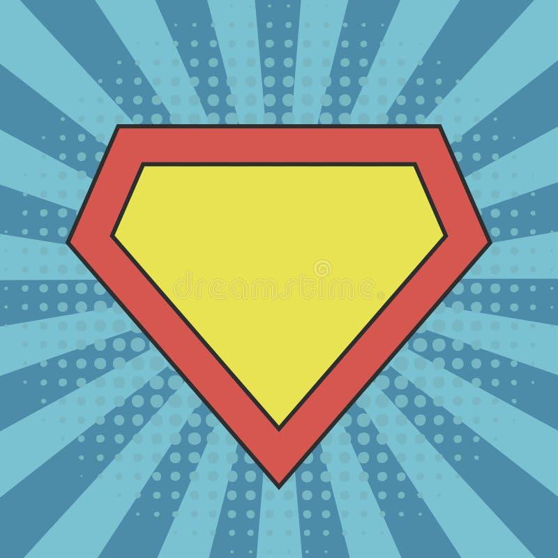 Molde do logotipo do super-herói no fundo cômico do sunburst ilustração royalty free