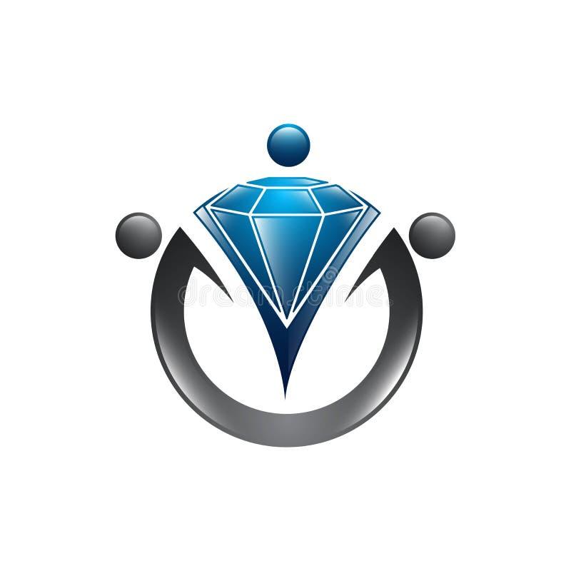 Molde do logotipo do trabalhador do diamante Projeto do vetor do recrutamento busca ilustração stock