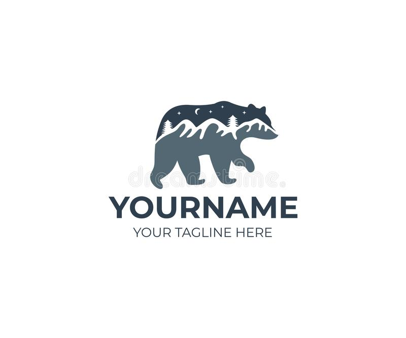 Molde do logotipo do urso e das montanhas Projeto do vetor da paisagem e do céu noturno da montanha ilustração stock