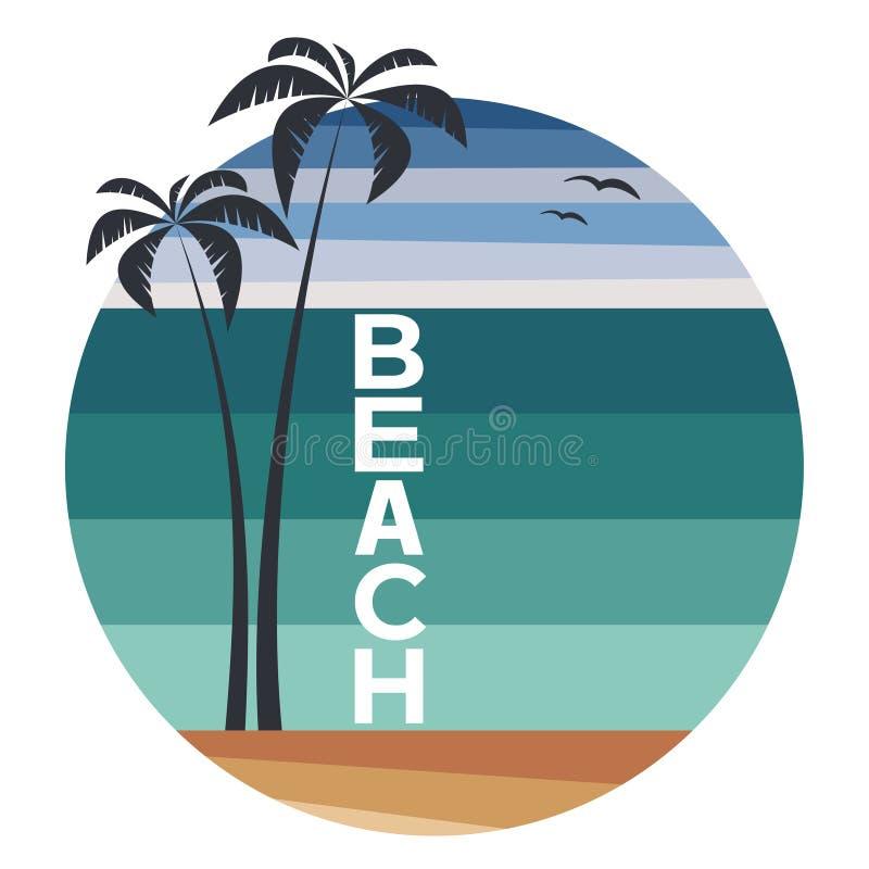 Molde do logotipo do verão com palmas e praia do texto na forma do círculo - ilustração do vetor ilustração stock