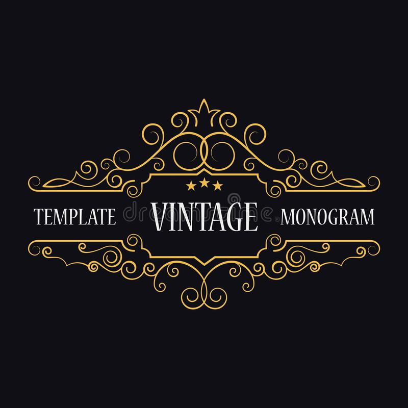 Molde do logotipo do vintage Iniciais do monograma Quadro decorativo ilustração royalty free