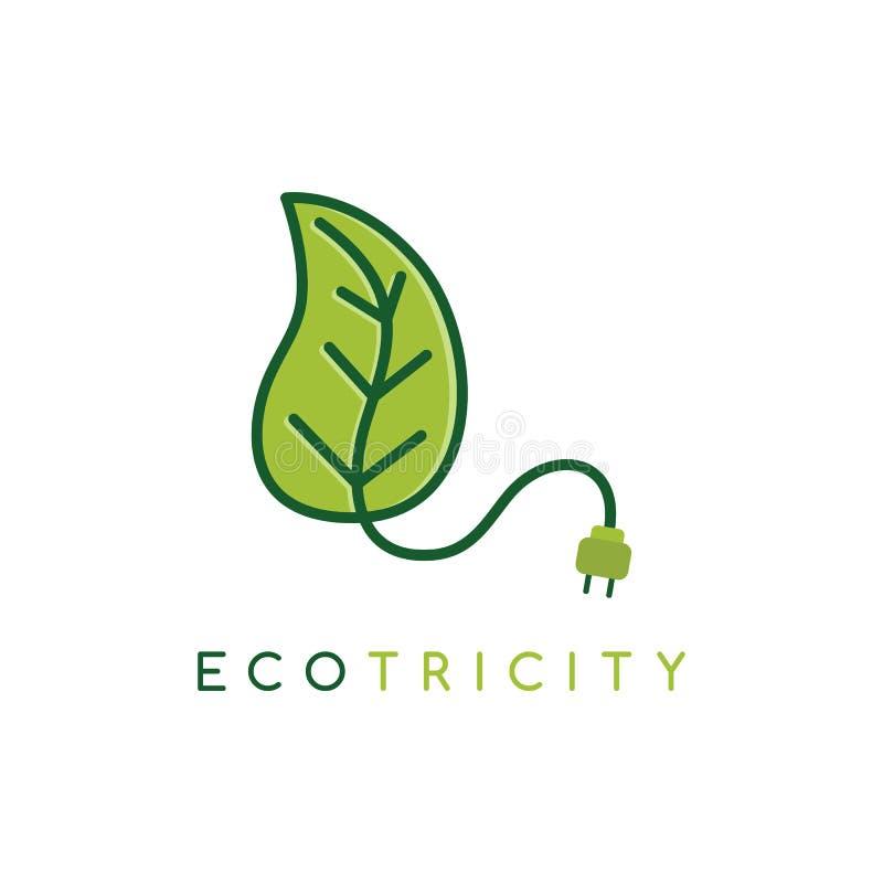 Molde do logotype do logotipo do ícone do símbolo da energia de Eco - eletricidade amigável da ecologia ilustração do vetor