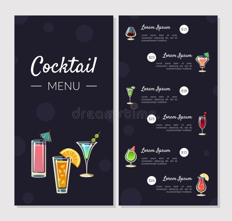 Molde do menu do cocktail, menu alcoólico da barra com tipos diferentes de cocktail e bebidas alcoólicas, bandeira, cartão ilustração do vetor
