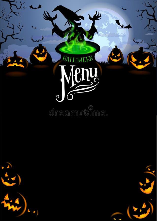 Molde do menu de Dia das Bruxas ilustração stock