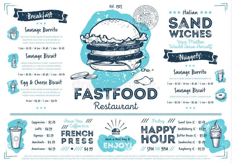 Molde do menu do fast food do café do restaurante ilustração royalty free
