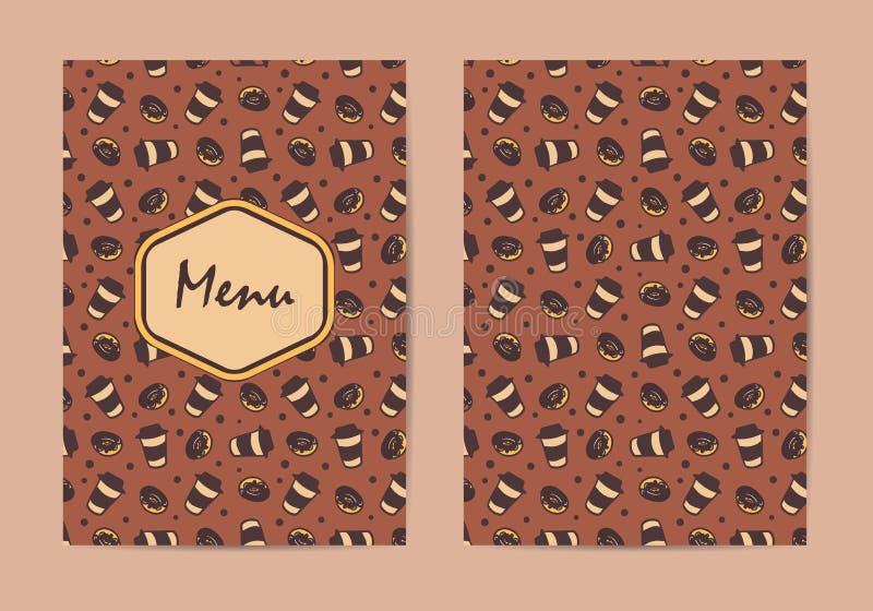 Molde do menu Folheto do restaurante do café, projeto do menu da cafetaria Molde do café do vetor com teste padrão desenhado à mã ilustração stock