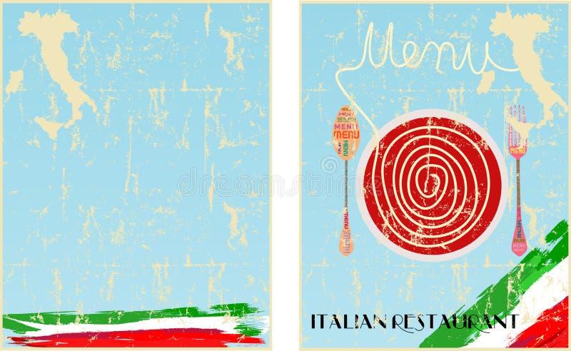 Molde do menu para o restaurante italiano 2 tomado partido ilustração royalty free