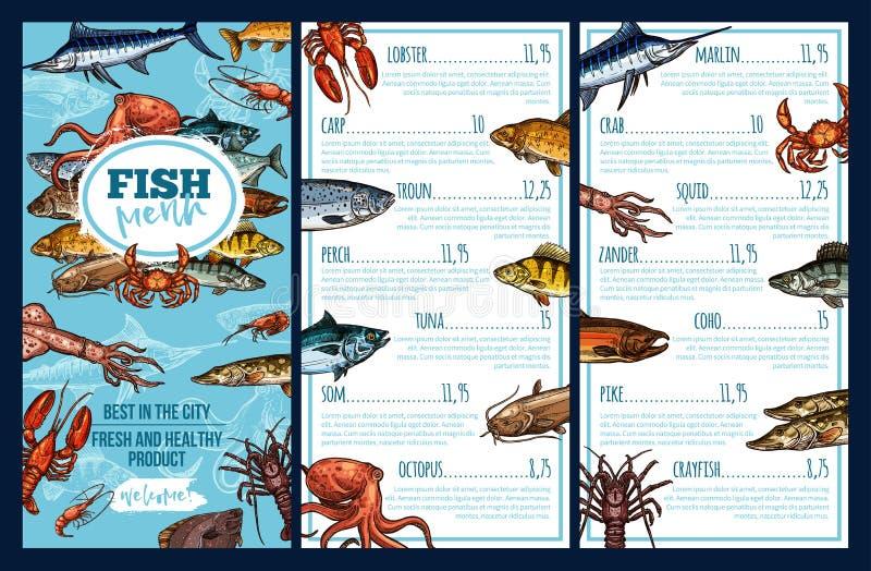 Molde do menu do restaurante do marisco com esboço dos peixes ilustração do vetor