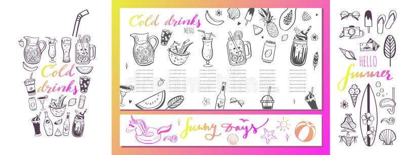 Molde do menu do vetor do restaurante e da barra com ilustrações tiradas mão cocktail e bebidas do verão Várias garatujas ilustração stock