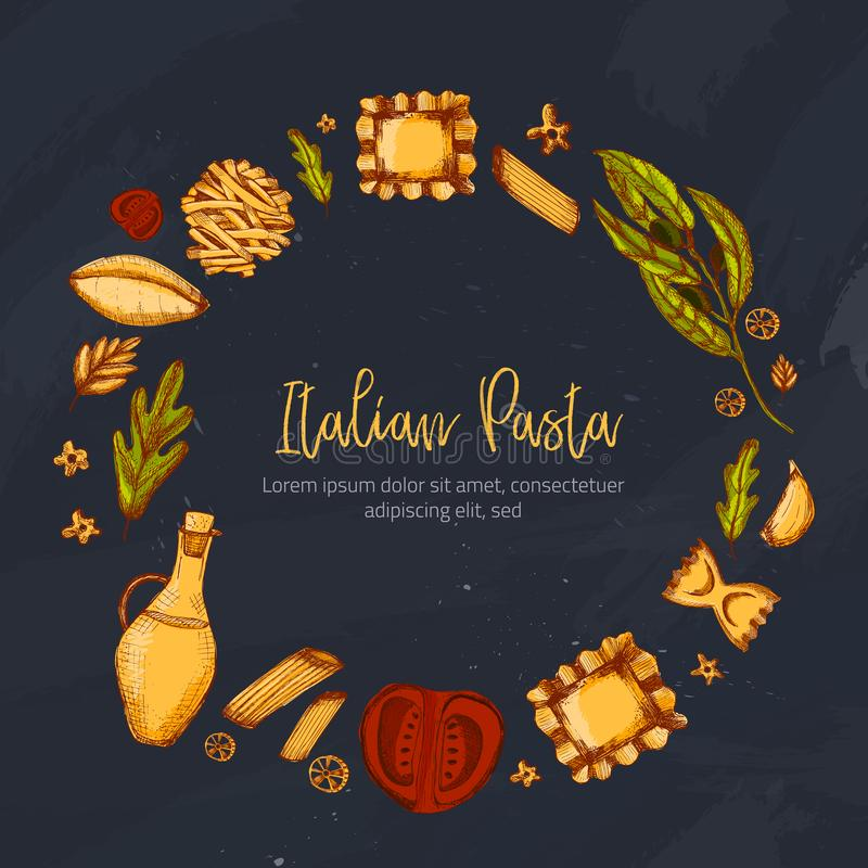Molde do menu do vintage para o projeto do folheto no estilo do esboço Jantar italiano delicioso do restaurante Fundo do alimento ilustração do vetor