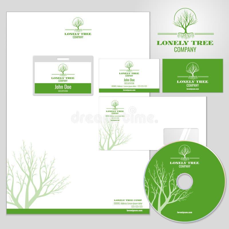 Molde do modelo do vetor da identidade corporativa com logotipo da árvore ilustração royalty free