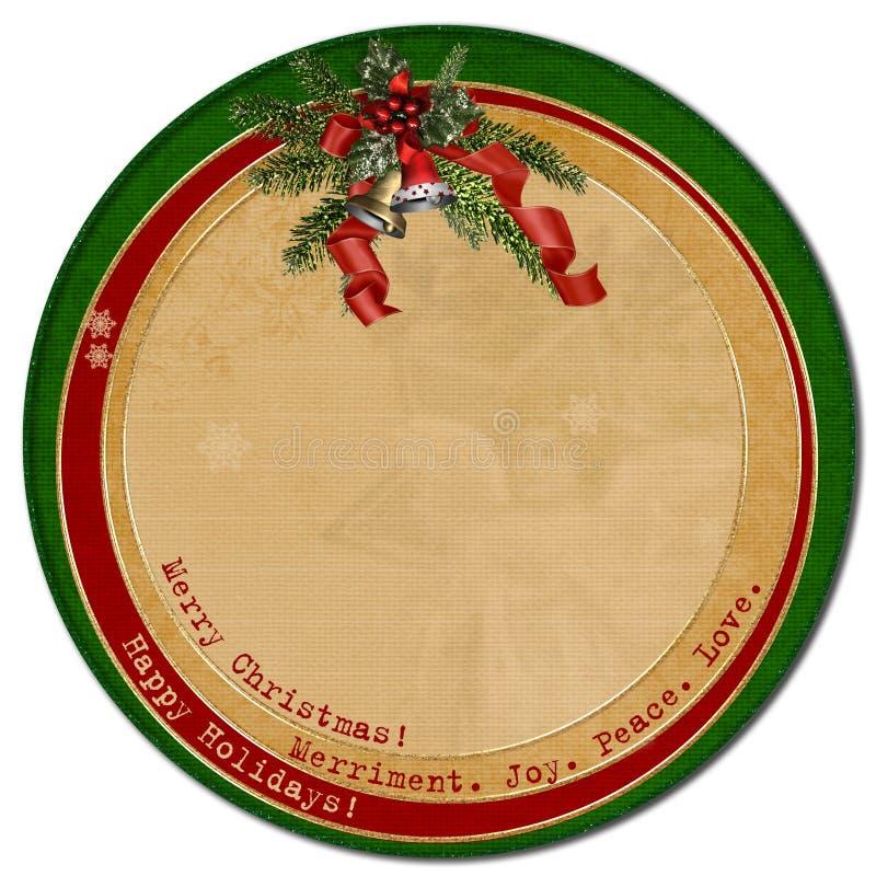 Molde do Natal card.circle do vintage ilustração do vetor