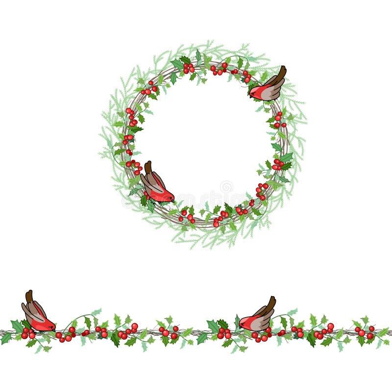 Molde do Natal com dom-fafe e as bagas vermelhas ilustração stock