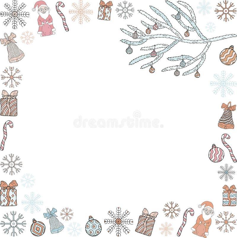 Molde do Natal e do ano novo O quadro ramos de árvore de Santa Clauses, do Natal, presentes, doces, flocos de neve, sinos e Chris ilustração stock