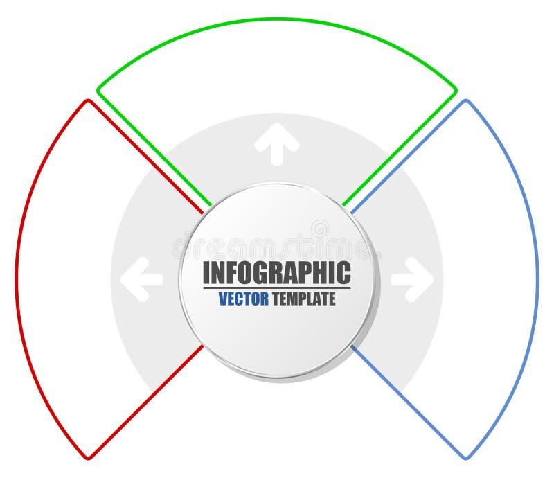 Molde do negócio da apresentação com 3 opções Carta de processo Conceito criativo para infographic ilustração do vetor