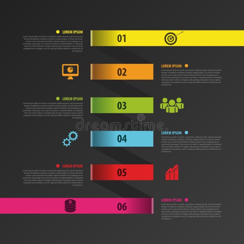 Molde do negócio da espiral de Infographic com etiquetas de papel Vetor ilustração stock