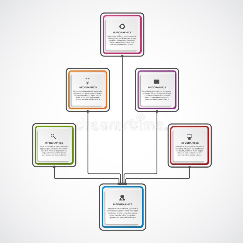 Molde do organograma do projeto de Infographic ilustração stock