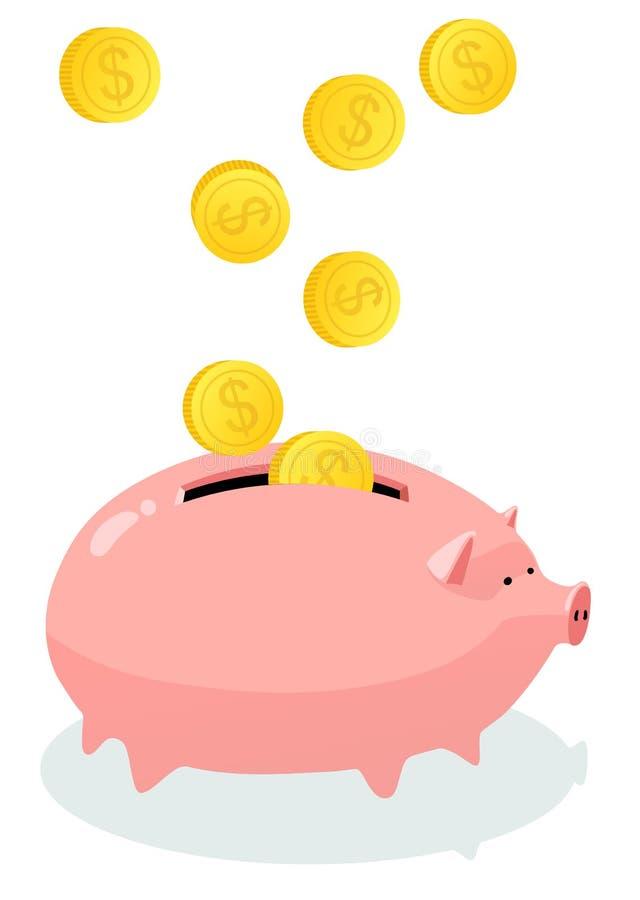 Molde do p?gina da web com fatura do tema do dinheiro Conceito com banco pigggy Ilustra??o do vetor ilustração royalty free