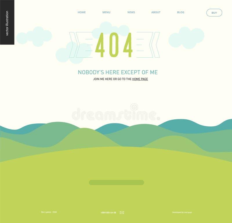 Molde do página da web do erro - lanscape com montanhas e montes ilustração stock