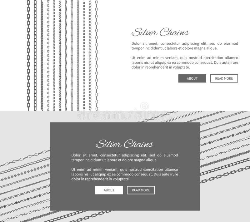 Molde do página da web da loja do Internet das correntes da prata ilustração stock