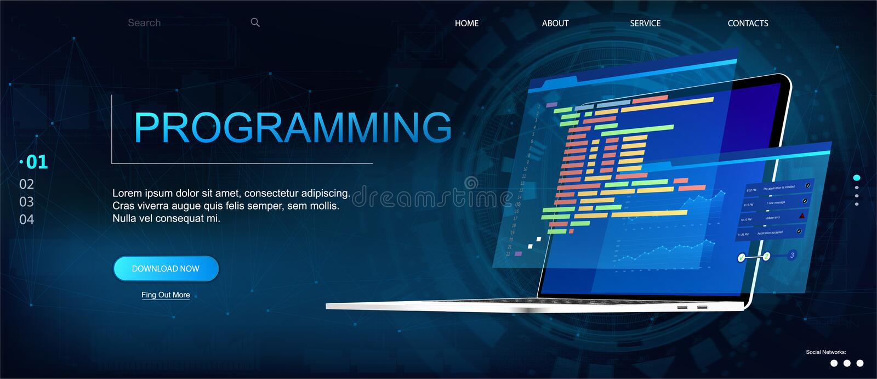 Molde do página da web da programação ou da programação de software ilustração stock