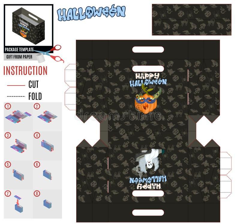 Molde do pacote para a abóbora e o fantasma mascarados do laço ilustração stock